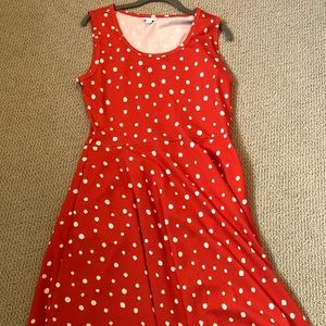 Red and white polka dot Lularoe tank dress